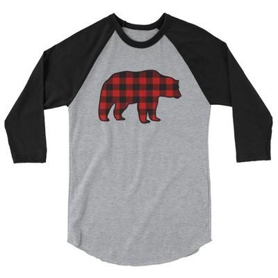 Plaid Bear - 3/4 sleeve raglan shirt