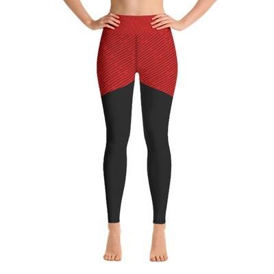 Red & Black Stripes - Sports Leggings