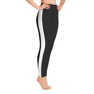 White Tape Side Printed - Sport Leggings