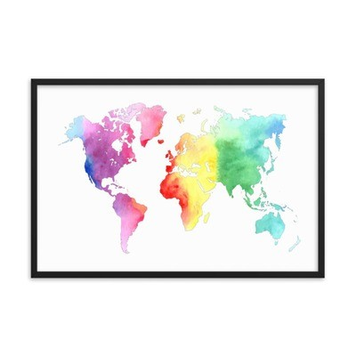 WaterColor - World Map (Framed Poster)