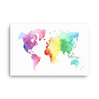 WaterColor - World Map (Canvas)