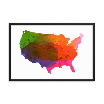 WaterColor - USA Map (Framed Poster)