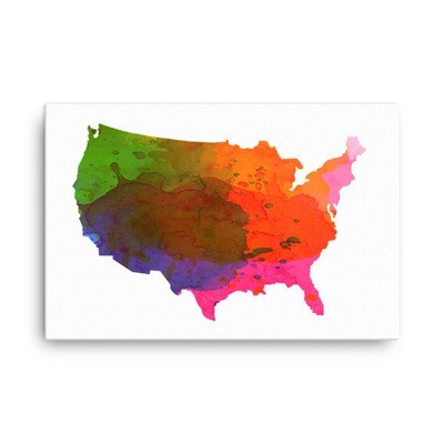 WaterColor - USA Map (Canvas)