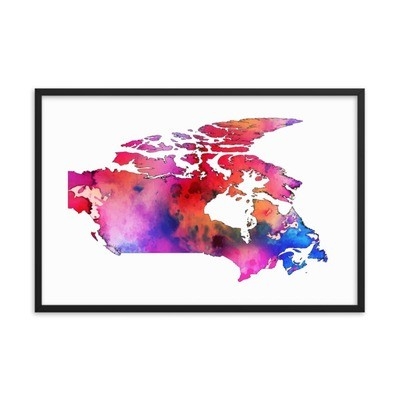 WaterColor - Canada Map (Framed Poster)
