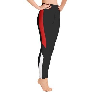 Red & White Tape Side Printed - Sport Leggings