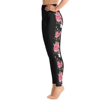 Roses Tape Side Printed - Sport Leggings