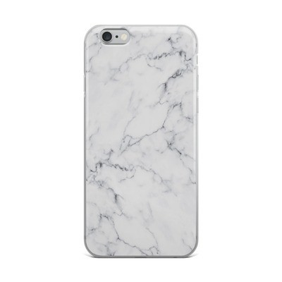 White Marble Print - iPhone Case