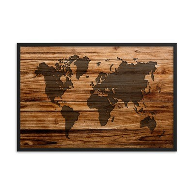Wood Print - World Map (Framed poster)