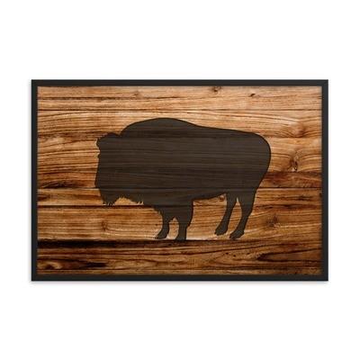 Wood Print - Bison (Framed poster)