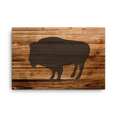 Wood Print - Bison (Canvas)