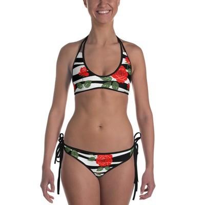 Black & White Stripe with Roses - Bikini