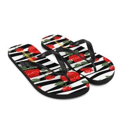 Black & White with Roses - Flip-Flops