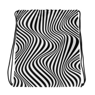 Black & White Stripe - Drawstring bag