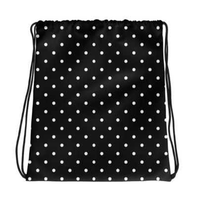 Black & White Polka Dot - Drawstring bag