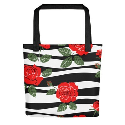 Black & White with Roses - Tote bag