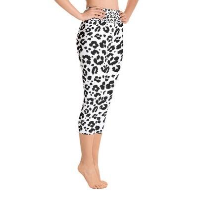 White Leopard Print - High Waisted Capri Leggings
