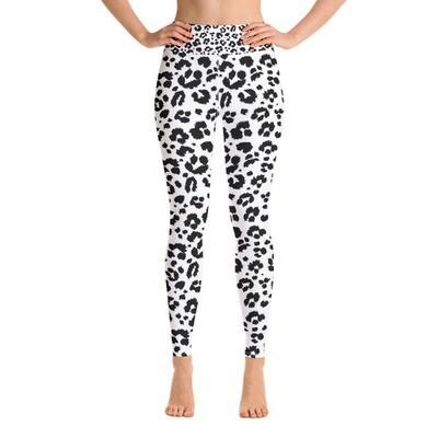 White Leopard Print - High Waisted Leggings