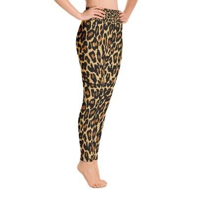 Gold Leopard Print - High Waisted Leggings