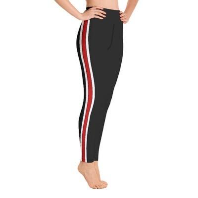 Red & White Tape Side - High Waisted Leggings