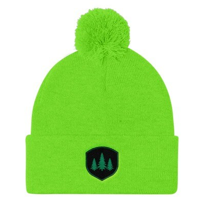 Pine Tree Crest - Pom Pom Knit Cap (Multi Colors) The Rocky Mountains Canadian American Rockies