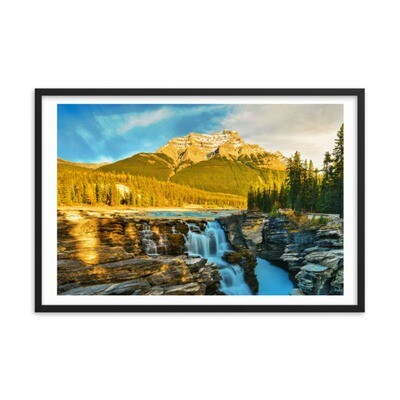 Athabasca Fall - Jasper Alberta Canada (Framed poster) The Rockies Canadian Rocky Mountains