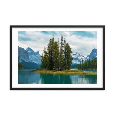 Spirit Island - Jasper Alberta Canada (Framed poster) The Rockies Canadian Rocky Mountains