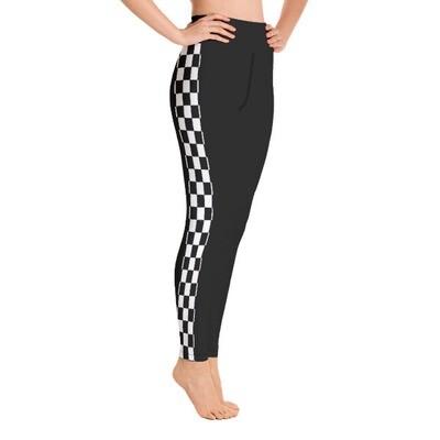 Checkered Tape Side - High Waisted Leggings