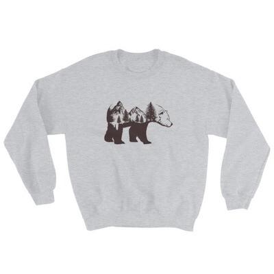 Bear  Landscape - Sweatshirt (Multi Colors) The Rocky Mountains Canadian American Rockies
