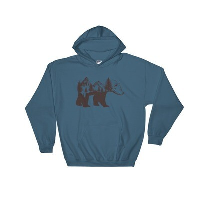 Bear Landscape - Hooded Sweatshirt (Multi Colors) The Rocky Mountains Canadian American Rockies