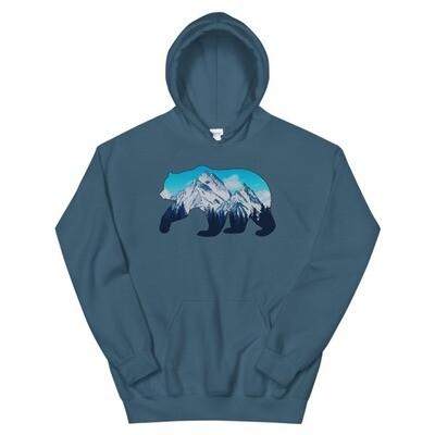 Bear Landscape - Hooded Sweatshirt (Multi Colors) The Rocky Mountains Canadian American Rockies