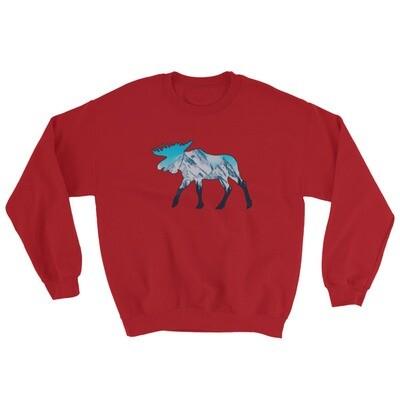 Moose Landscape - Sweatshirt (Multi Colors) The Rocky Mountains Canadian American Rockies