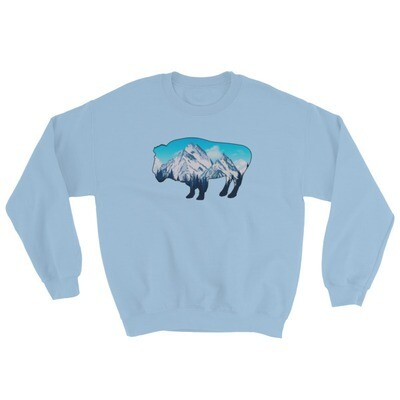 Bison Landscape - Sweatshirt (Multi Colors) The Rocky Mountains Canadian American Rockies