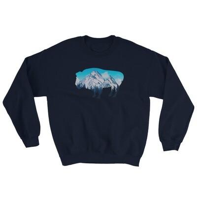 Bison Landscape - Sweatshirt (Multi Colors) The Rocky Mountains Canadian American Rockies