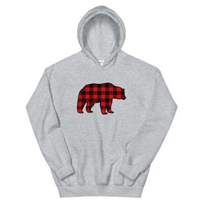 Plaid Bear - Hooded Sweatshirt (Multi Colors) The Rocky Mountains, Canadian American Rockies