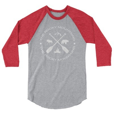 The Rocky Mountains - 3/4 sleeve raglan shirt (Multi Colors) Canadian, American Rockies