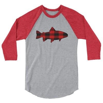 Plaid Fish - 3/4 sleeve raglan shirt (Multi Colors) The Rockies, Canadian American Rocky Mountains