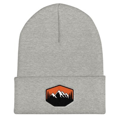 Sunset Mountains & Pines - Cuffed Beanie (Multi Colors) The Rocky Mountains Canadian American Rockies