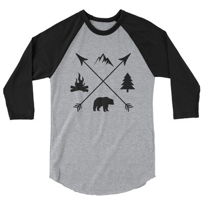 The Rockies Lifestyle - 3/4 sleeve raglan shirt (Multi Colors) Canadian American Rocky Mountains