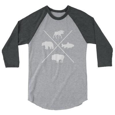 The Rockies Wildlife - 3/4 sleeve raglan shirt (Multi Colors) Canadian American Rocky Mountains