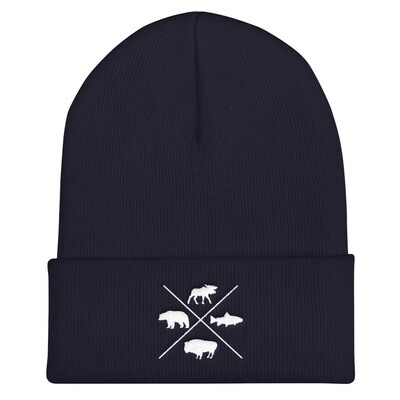 The Rockies Wildlife - Cuffed Beanie (Multi Colors) Canadian American Rocky Mountains