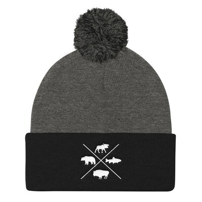 The Rockies Wildlife - Pom Pom Knit Cap (Multi Colors) Canadian American Rocky Mountains