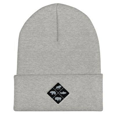 The Rockies Wildlife Crest - Cuffed Beanie (Multi Colors) Canadian American Rocky Mountains