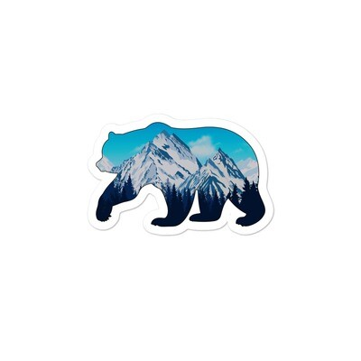 Snowy Rocky Mountains Bear - Vinyl Bubble-free stickers (Multi Sizes) American Canadian Rockies