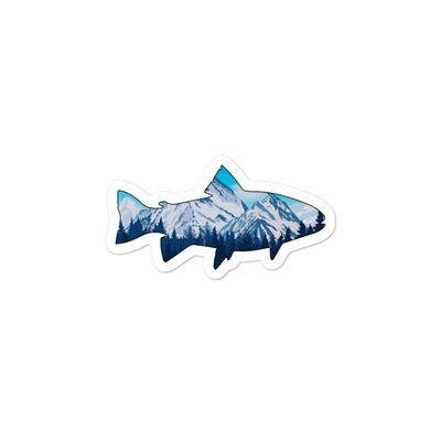 Snowy Rocky Mountains Fish - Bubble-free stickers (Multi Sizes) Canadian American Rockies
