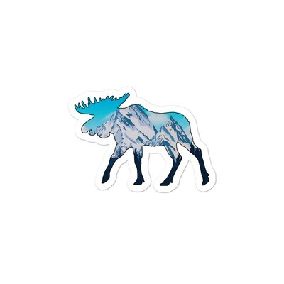 Snowy Rocky Mountains Moose - Vinyl Bubble-free stickers (Multi Colors) American Canadian Rockies