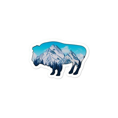 Snowy Rocky Mountains Bison - Vinyl Bubble-free stickers (Multi Sizes) American Canadian Rockies