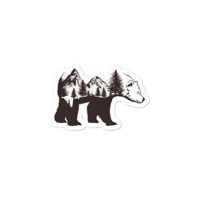 Bear Rocky Mountain Landscape - Vinyl Bubble-free stickers (Multi Colors) Canadian American Rockies