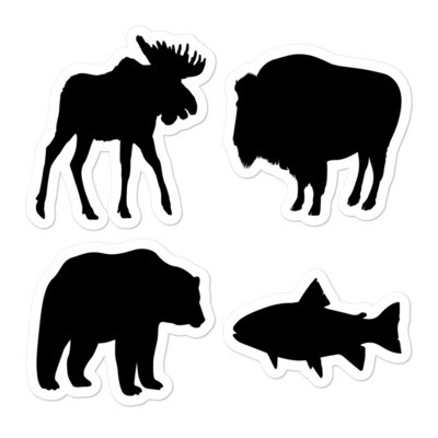 Animal Silhouette (4 Pack) Vinyl Bubble-free stickers - The Rocky Mountains Canadian American Rockies