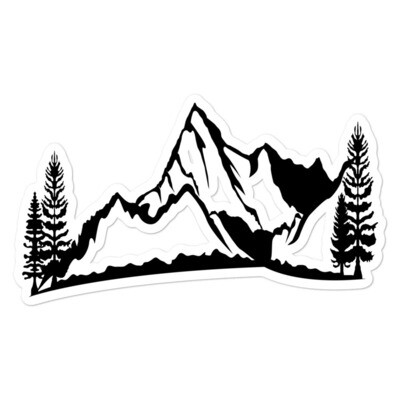 Mountain & Pines - Vinyl Bubble-free stickers (Multi Sizes) The Rocky Mountains Canadian American Rockies