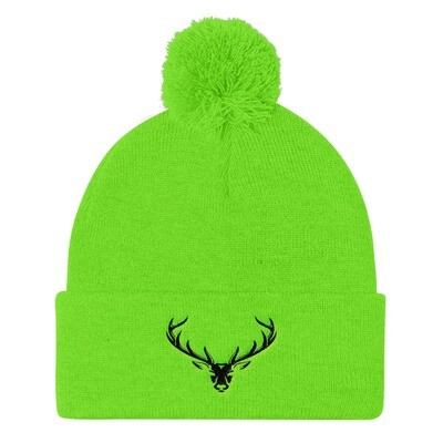 Deer Head - Pom Pom Knit Cap (Multi Colors) The Rocky Mountains Canadian American Rockies